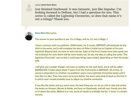 Q&A From Goodreads Fan Lance