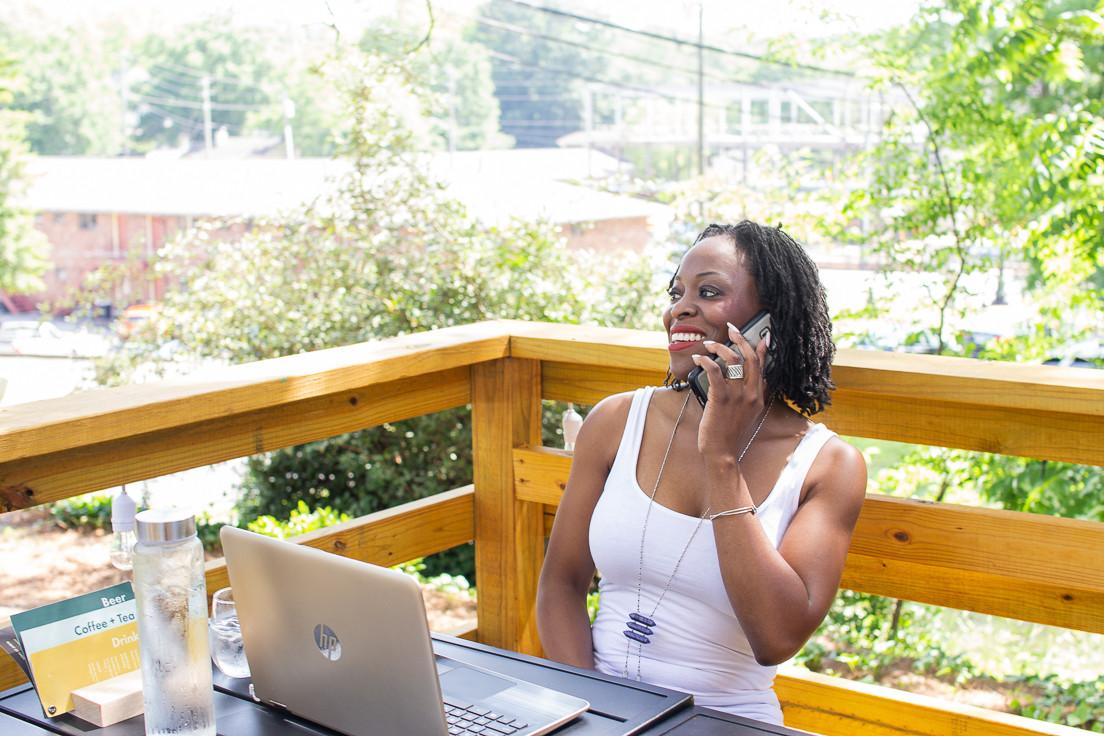Entrepreneur on phone