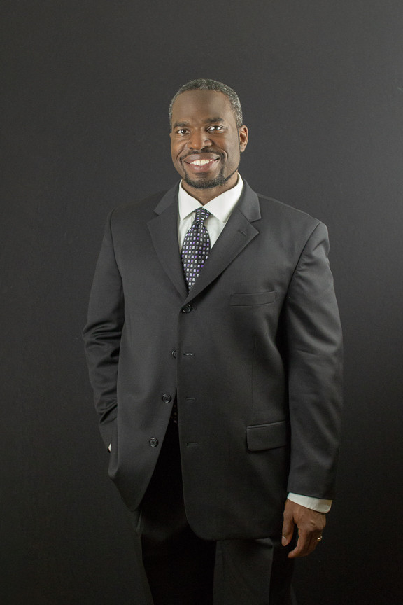 African America businessman in a gray suit