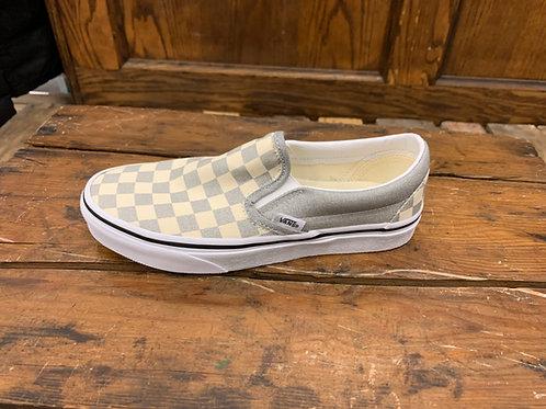 Vans Women's Classic Slip-On Checkerboard Silver White