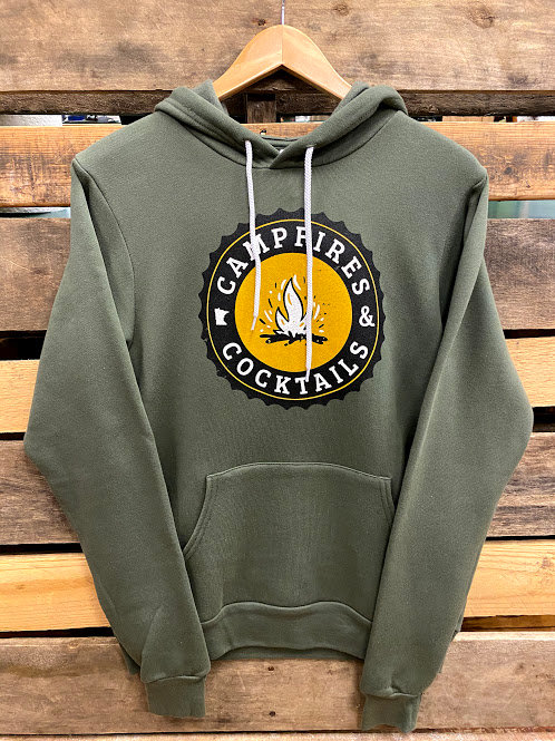 Lakeside Campfires and Cocktails Unisex Green Hoodie