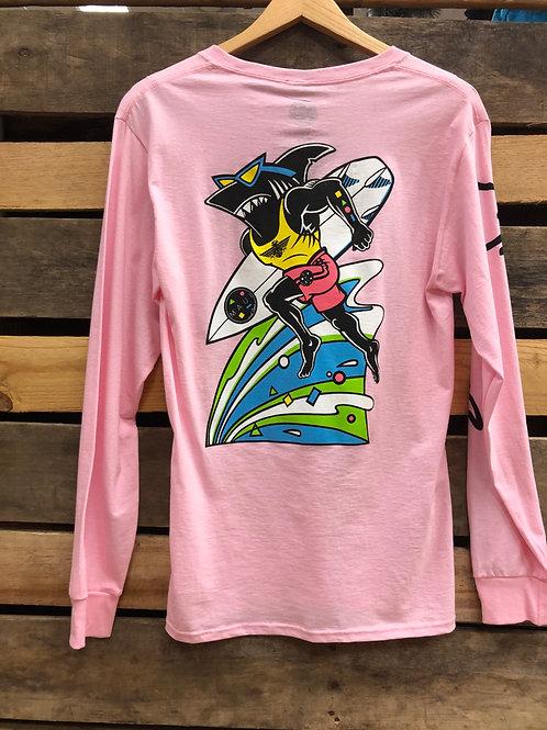 Maui and Sons Running Sharkman LS Pink