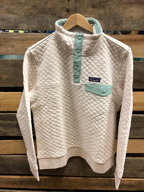 Patagonia Women's Organic Cotton Quilt Snap-t PO Dyno White Gypsum Green