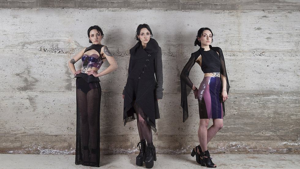 Uneven witchy mermaid debut collection, latex leather and textiles, inspired by amethyst crystals and water movement. handmade in quebec, canada