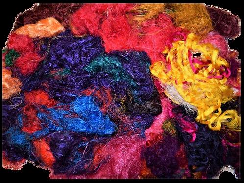 3oz Aqua Sari Silk Fiber Waste Threads Multi Mixed 2