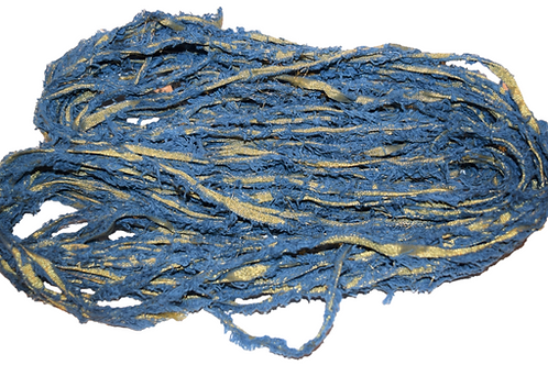 10 yards Gold LUREX Natural Frayed Recycled Friz Cotton Ribbon Yarn Denim