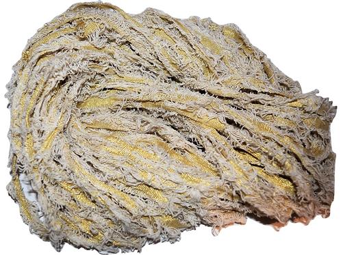 100 gr Gold LUREX Natural Frayed Recycled Friz Cotton Ribbon Yarn Beige