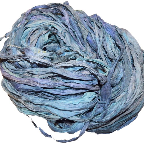 10 yards Sari SILK Ribbon Yarn Blue Lilac