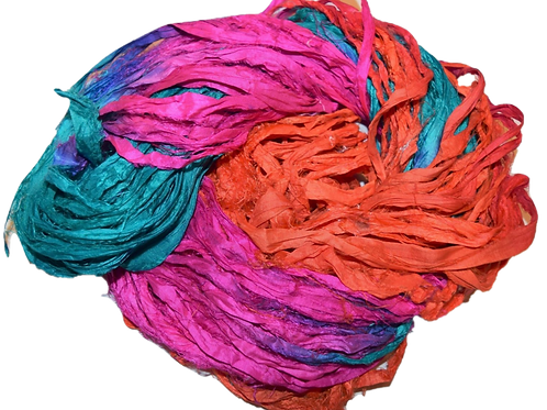 10 yards Sari SILK Ribbon Yarn Hot Orange Pink