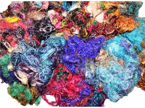 3oz Aqua Sari Silk Fiber Waste Threads Multi Mixed 6