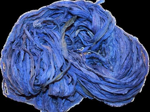 10 yards Sari SILK Ribbon Yarn Saphire