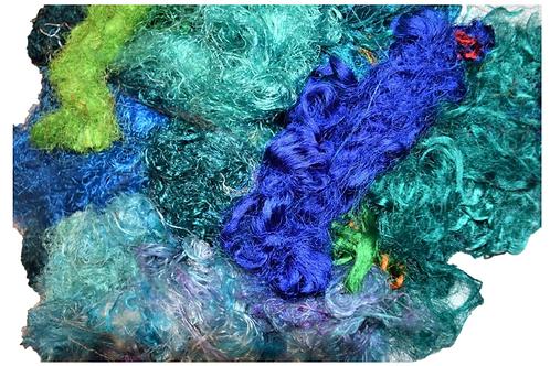 3oz Aqua Sari Silk Fiber Waste Threads Multi Mixed 1