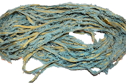 10 yards Gold LUREX Natural Frayed Recycled Friz Cotton Ribbon Yarn Sea Blue