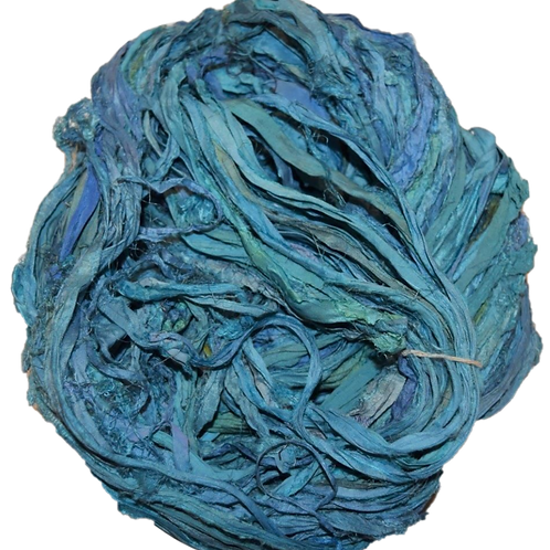 10 yards Sari SILK Ribbon Yarn Teal Blue