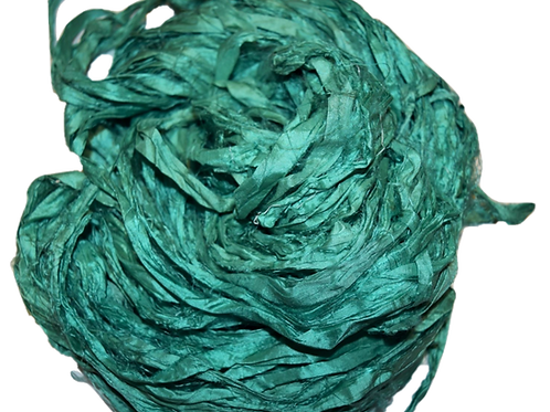 10 yards Sari SILK Ribbon Yarn Jade