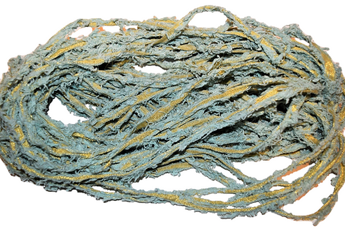10 yards Gold LUREX Natural Frayed Recycled Friz Cotton Ribbon Yarn Green Gray