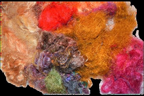 3oz Aqua Sari Silk Fiber Waste Threads Multi Mixed 3