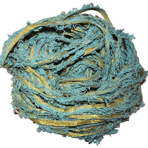 100 gr Gold LUREX Natural Frayed Recycled Friz Cotton Ribbon Yarn Sea Blue
