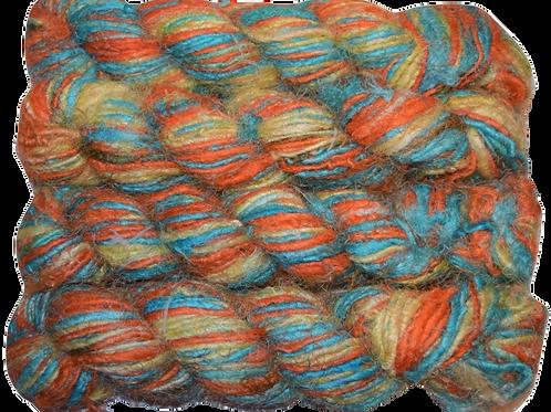100g Himalayan Sari Silk Yarn Orange Teal