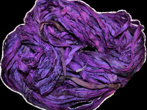 10 yards Sari SILK Ribbon Yarn Grape