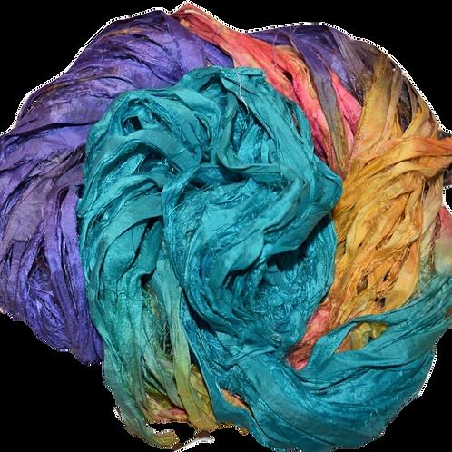 10 yards Sari SILK Ribbon Yarn Aqua Purple