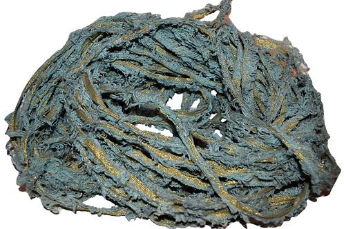 100 gr Gold LUREX Natural Frayed Recycled Friz Cotton Ribbon Yarn Green Gray