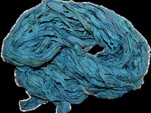 10 yards Sari SILK Ribbon Yarn Sea Blue Foam