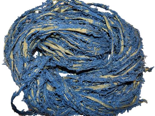 100 gr Gold LUREX Natural Frayed Recycled Friz Cotton Ribbon Yarn Denim