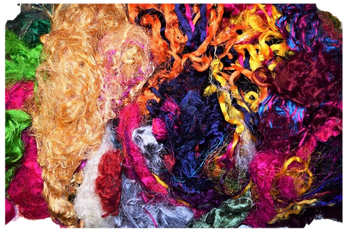 3oz Aqua Sari Silk Fiber Waste Threads Multi Mixed 5