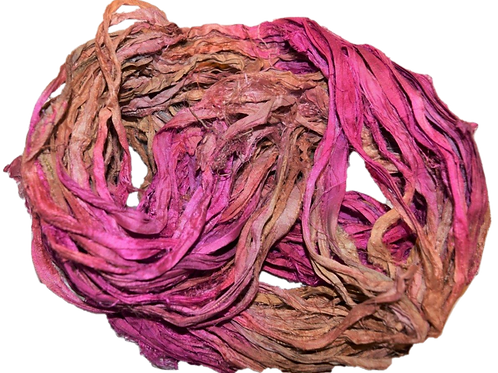 10 yards Sari SILK Ribbon Yarn Rose Gold