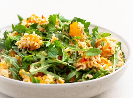 Ginger Roasted Pumpkin & Brown Rice Salad