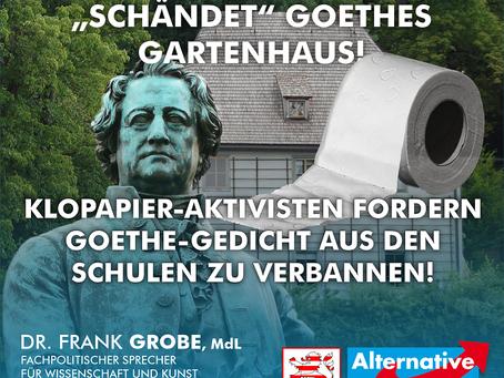 """+++ PRESSEMITTEILUNG +++ Künstlergruppe aus Frankfurt """"schändet"""" Goethes Gartenhaus!"""