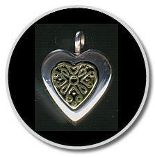 Sterling Silver Heart w/14K Gold Insert Pendant