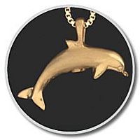 14K Gold Dolphin Pendant