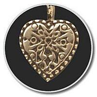 14K Gold Heart w/ Antique Insert Pendant