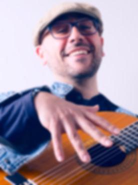 Corporate event singing guitarist