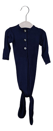 Newborn Knotted Gown - Navy