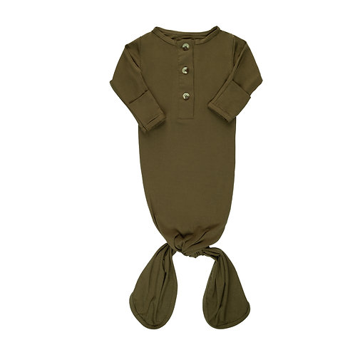 Newborn Knotted Gown - Olive
