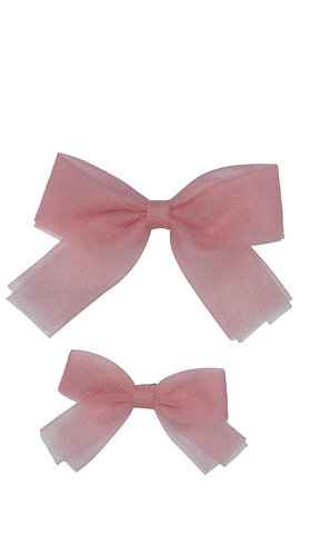 Small Blush Tulle Bow Clip