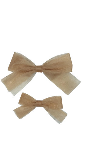 Small Gold Tulle Bow Clip