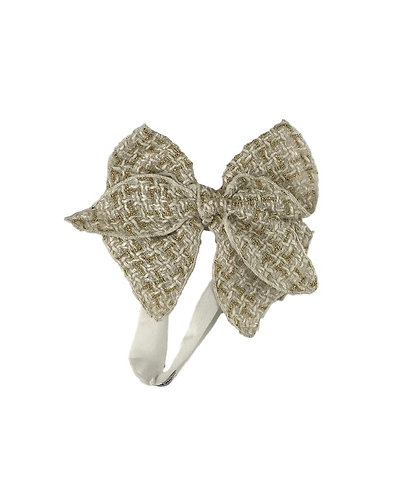 White Tweed Bow