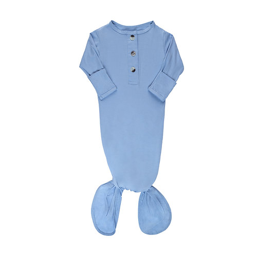 Newborn Knotted Gown - Baby Blue