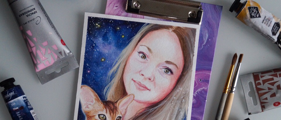 Портрет девушки и котёнка 15х20см