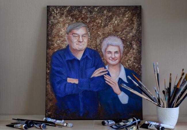 Портрет на золотую свадьбу родителям