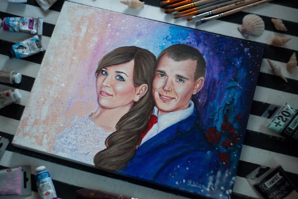 Портрет в подарок молодоженам на свадьбу