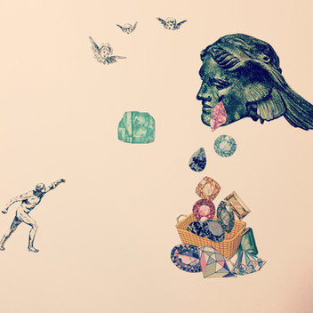 """Collage by Juliet Jaeger """"He Who Throws Stones"""""""