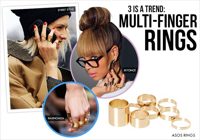 3 is a Trend: Multi Finger Rings