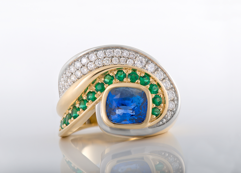 Sapphire Emerald Diamond Ring