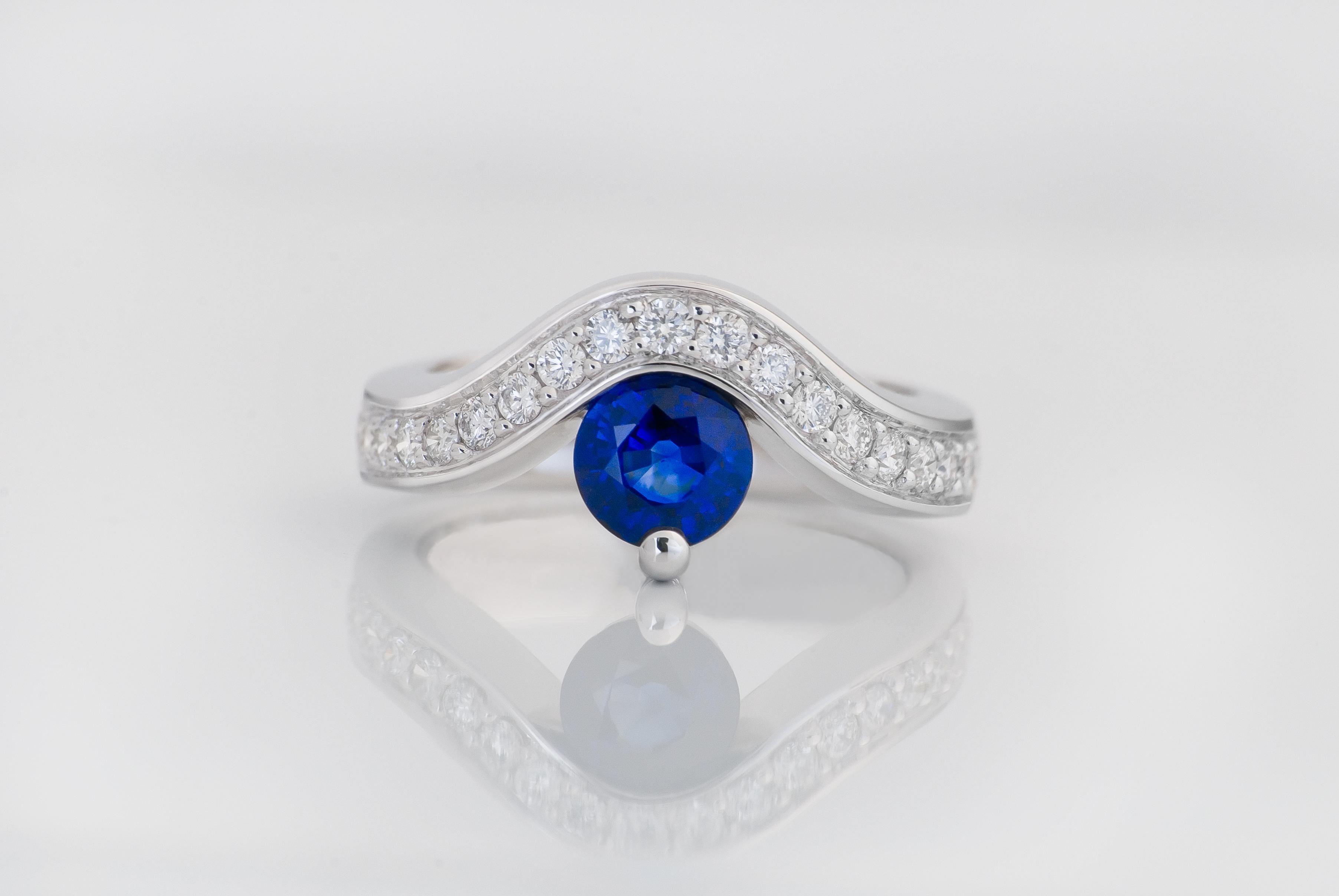 Sapphire & Diamond Bow Ring