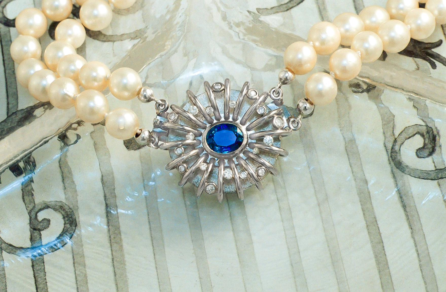 18ct Gold Sapphire Diamond Clasp